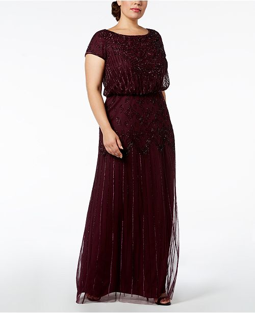 Adrianna Papell Plus Size Bead Illusion Blouson Dress Dresses