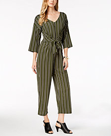 NY Collection Petite Striped 3/4-Sleeve V-Neck Jumpsuit