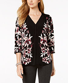 Alfani Petite Printed V-Neck Top, Created For Macy's