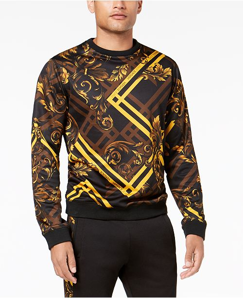 Versace Men s Baroque-Check Sweatshirt   Reviews - Hoodies ... 19d13df4b2ef5