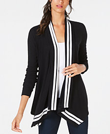 I.N.C. Petite Stripe-Trim Draped Cardigan, Created for Macy's
