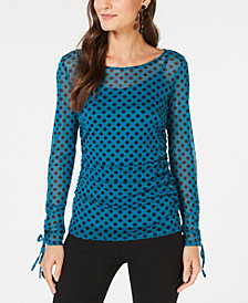 I.N.C. Ruched Tie-Sleeve Top, Created for Macy's