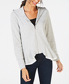 I.N.C. Layered Peplum Hoodie, Created for Macy's