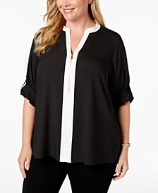 Plus Size Zip-Front Blouse