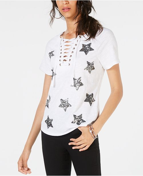 INC International Concepts INC Sequin-Star Cotton Lace-Up T-Shirt, Created for Macy's