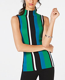 I.N.C. Petite Striped Sleeveless Sweater, Created for Macy's