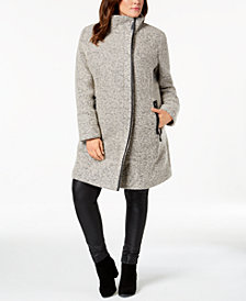 Calvin Klein Plus Size Textured Faux-Leather-Trim Coat