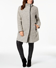 Calvin Klein Plus Size Faux-Leather-Trim Boucle Coat