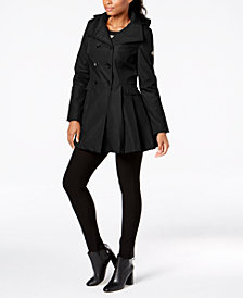 Calvin Klein Double-Breasted Skirted Raincoat