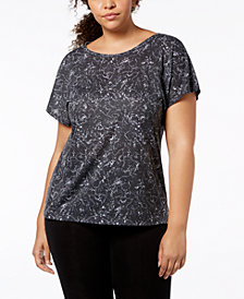 Ideology Plus Size Essential Printed Cross-Back T-Shirt, Created for Macy's