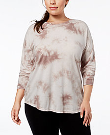 Calvin Klein Performance Plus Size Tie-Dyed Top