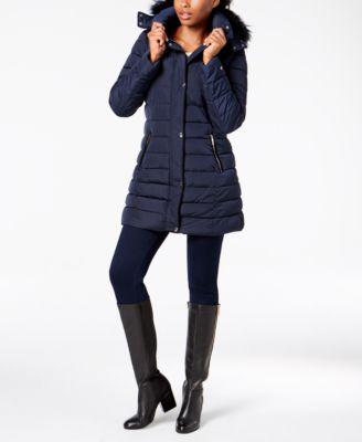 Hooded Faux-Fur-Trim Coat