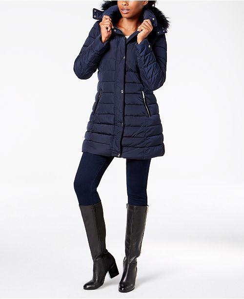 dec5c3832d1 Tommy Hilfiger Hooded Faux-Fur-Trim Coat   Reviews - Coats ...