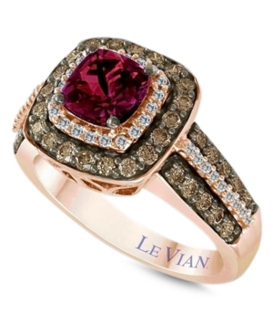 Le Vian Raspberry Rhodolite Garnet (1 ct. t.w.) and White and Chocolate Diamonds (3/4 ct. t.w.) Square Statement Ring in 14k Rose Gold