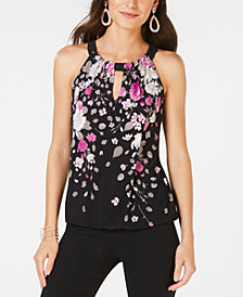 I.N.C. Floral-Print Keyhole Top, Created for Macy's