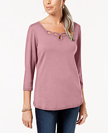 Karen Scott Studded Cutout Cotton Top, Created for Macy's
