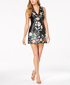foxiedox Floral-Embroidered Faux-Leather Dress