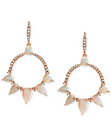 Opal (2 ct. t.w.) & Diamond (1/4 ct. t.w.) Circle Drop Earrings in 14k Rose Gold