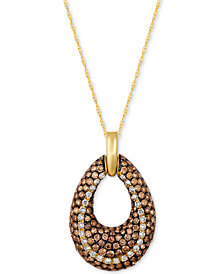 Le Vian Chocolatier® Diamond Open Teardrop Pendant Necklace (1-9/10 ct. t.w.) in 14k Gold