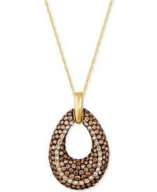 Le Vian Chocolatier® Diamond Open Teardrop Pendant Necklace (1-9/10 ct. t.w.) in 14k Gold