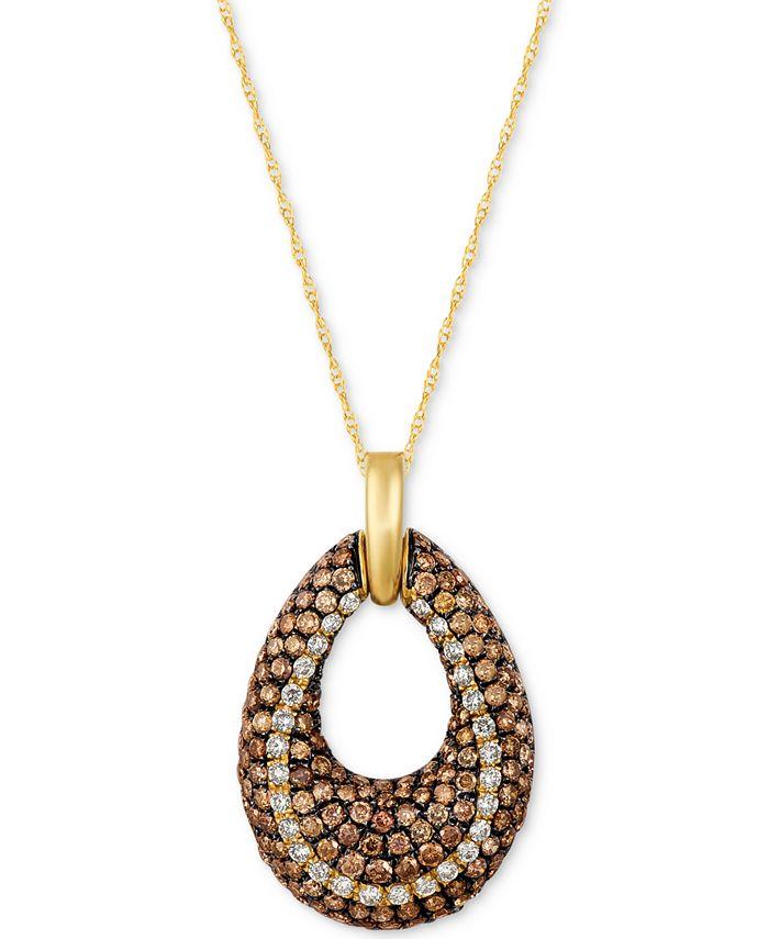 Le Vian - Diamond Open Teardrop Pendant Necklace (1-9/10 ct. t.w.) in 14k Gold