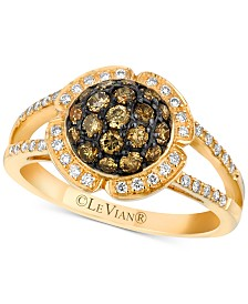 Le Vian Chocolatier® Diamond Halo Cluster Ring (3/4 ct. t.w.) in 14k Gold