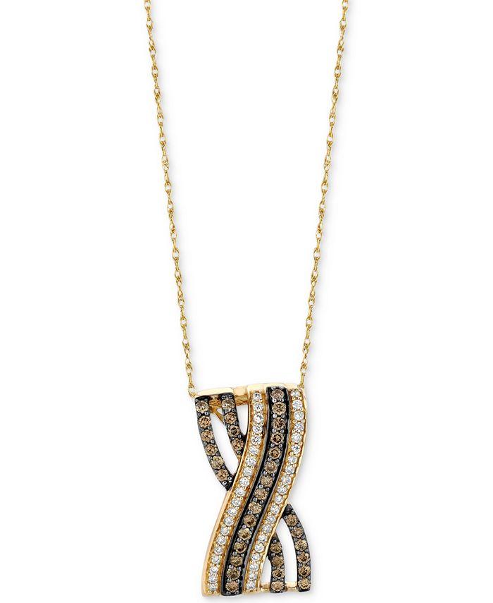 "Le Vian - Diamond Overlap 18"" Pendant Necklace (5/8 ct. t.w.) in 14k Gold"