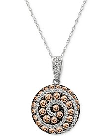 "Chocolatier® Diamond Spiral 18"" Pendant Necklace (1-1/4 ct. t.w.) in 14k White Gold"