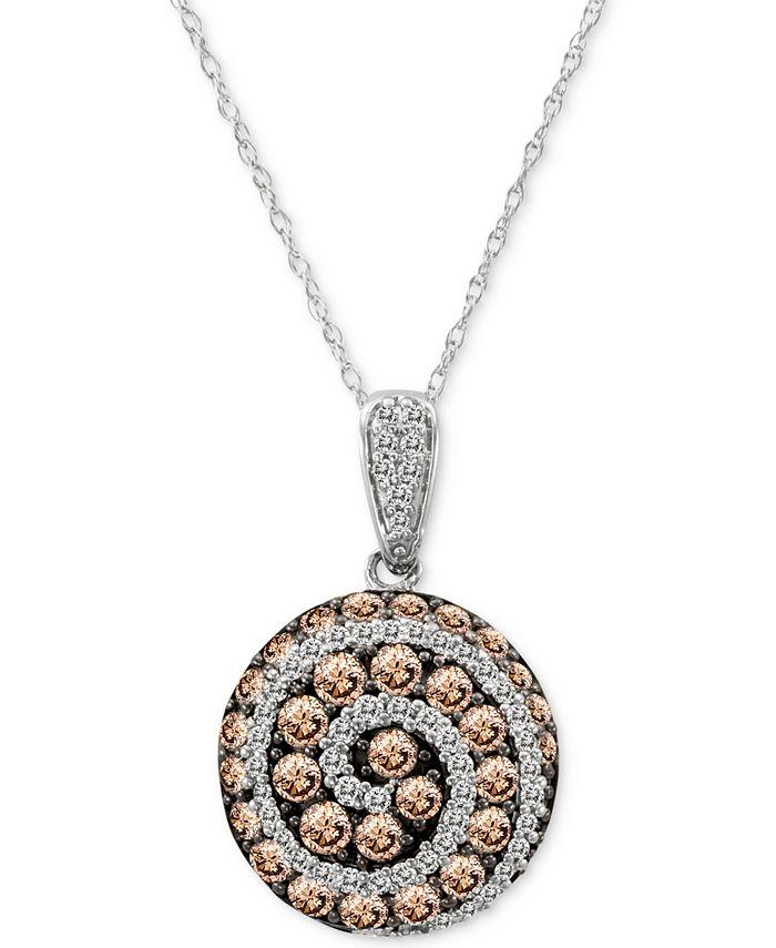 "Le Vian - Diamond Spiral 18"" Pendant Necklace (1-1/4 ct. t.w.) in 14k White Gold"