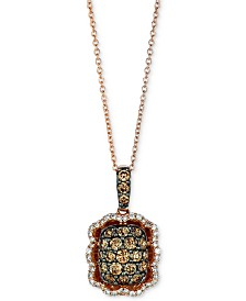 "Le Vian Chocolatier® Diamond Cluster 18"" Pendant Necklace (7/8 ct. t.w.) in 14k Rose Gold"