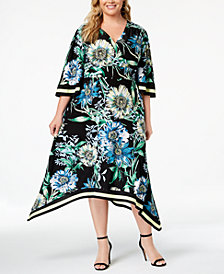 I.N.C. Plus Size Handkerchief-Hem Midi Dress, Created for Macy's