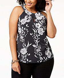 I.N.C. Plus Size Keyhole Halter Top, Created for Macy's