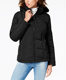 Calvin Klein Petite Faux-Fur-Lined Hooded Puffer Coat