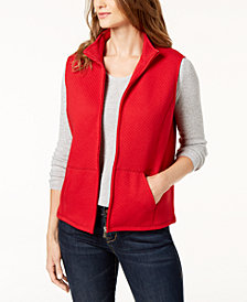 Karen Scott Petite Mini-Quilt Fleece Vest, Created for Macy's