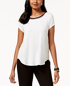 Alfani Striped-Trim T-Shirt, Created for Macy's