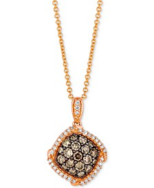 """Chocolatier® Diamond Halo Cluster 18"""" Pendant Necklace (5/8 ct. t.w.) in 14k Rose Gold"""