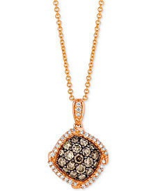 "Le Vian Chocolatier® Diamond Halo Cluster 18"" Pendant Necklace (5/8 ct. t.w.) in 14k Rose Gold"