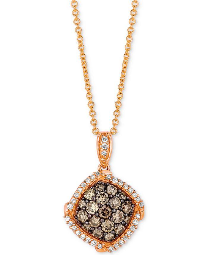 "Le Vian - Diamond Halo Cluster 18"" Pendant Necklace (5/8 ct. t.w.) in 14k Rose Gold"