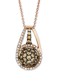 "Le Vian Chocolatier® Diamond Halo Cluster 18"" Pendant Necklace (3/4 ct. t.w.) in 14k Rose Gold"