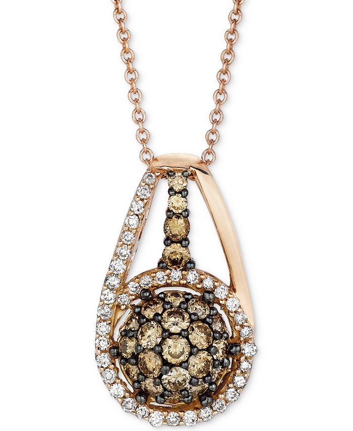 "Le Vian - Diamond Halo Cluster 18"" Pendant Necklace (3/4 ct. t.w.) in 14k Rose Gold"