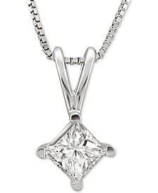 """Solitaire Princess 18"""" Pendant Necklace (1 ct. t.w.) in 14k White Gold"""