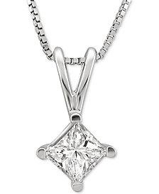 "Macy's Star Signature Diamond Solitaire Princess 18"" Pendant Necklace (1 ct. t.w.) in 14k White Gold"