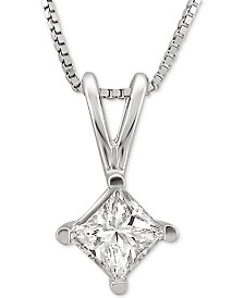 "Macy's Star Signature Diamond Solitaire Princess 18"" Pendant Necklace (1 ct. t.w.) in 14k White Gold"