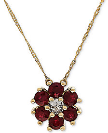 "Ruby (9/10 ct. t.w.) & White Topaz (1/6 ct. t.w.) 18"" Pendant Necklace in 14k Gold"