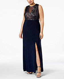 Nightway Plus Size Sequined Illusion Gown