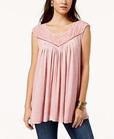 Style & Co Lace-Trim Sleeveless Swing Top, Created for Macy's