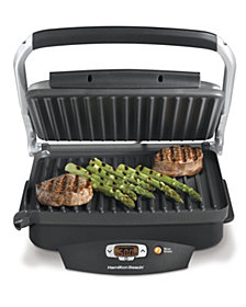 indoor kitchen grill wood burning hamilton beach steak lovers 100 sq in non stick indoor grill macys