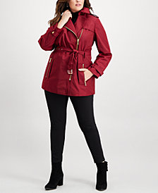 MICHAEL Michael Kors Plus Size Zip-Front Trench Coat