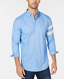 Club Room Men's Striped-Sleeve Oxford Shirt, Created for Macy's