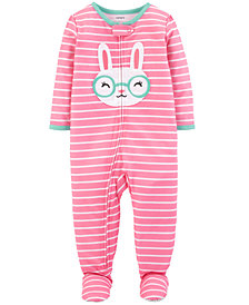 Carter's Baby Girl Striped Bunny Footed Pajamas